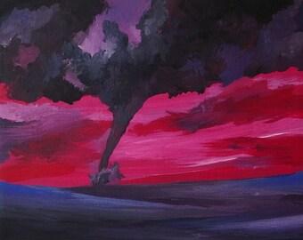 Purple Tornado, Pink Sky -- original acrylic painting