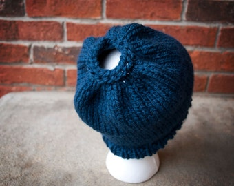 Messy Bun Knit Hat Navy Blue