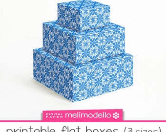 """Printable boxes """"Hawaii"""" blue, 3 sizes, instant download, downloadable box, DIY box, gift box"""