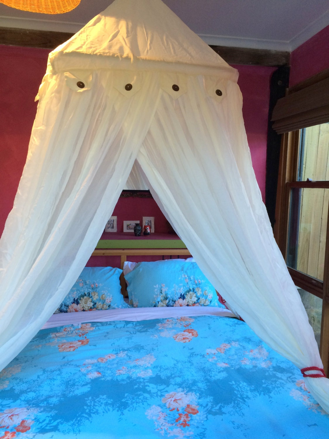 ?zoom & Luxurious 100% cotton bed canopy mosquito net central hook