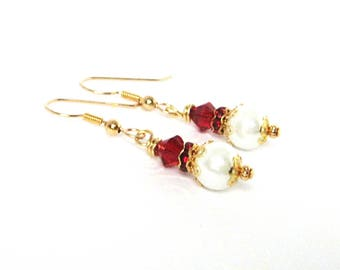 White Pearl Drop Earrings with Red Swarovski Crystals, Fancy Beaded Faux Pearl Earrings, Gold Filled Earrings, Jewelry Gift for Women