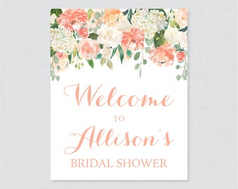 Peach Floral Bridal Shower Welcome Sign Printable - Garden Party Bridal Shower Customizable Sign - Peach and Cream Bridal Shower Decor 0028