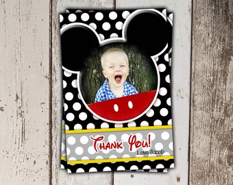 Mickey Mouse Thank You Cards with Photo - black polka dots