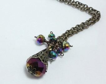 Mystic Purple Vintage Style Pendant Antique Gold