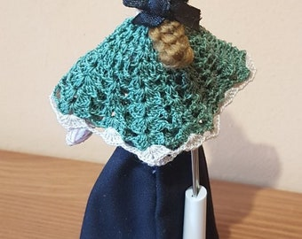 Crocheted green and cream granny shawl miniature for dollhouse 1:12