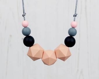 Teething Necklace, Mum Jewellery, Nursing Necklace, Teething Jewellery, Geometric Necklace, Silicone Beads, Mama Jewellery, New Mum Gift