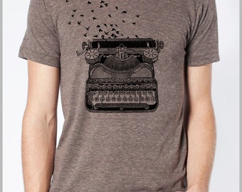 Writer's Retro Tee Freedom of Speech Vintage Typewriter with Birds flying from t shirt Men's Women's Unisex American Apparel shirt