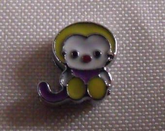 passing 12mmx10mm purple white yellow animal print bead
