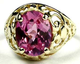 Created Pink Sapphire, 18KY Gold Ring, R004