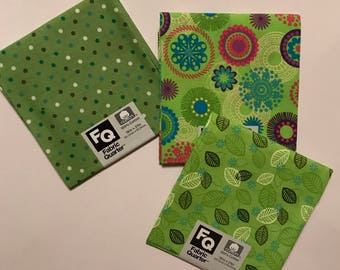 3 Fat Quarters - Fabric Quarters Bright Green Prints for sewing, quilting