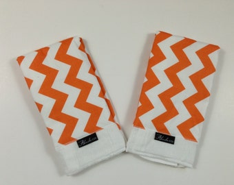 Orange Chevron Baby Burp Cloth Set (2)