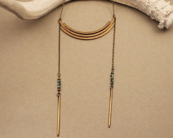 Stevie brass arc ladder necklace with turquoise- modern, minimal boho gold tone ladder necklace