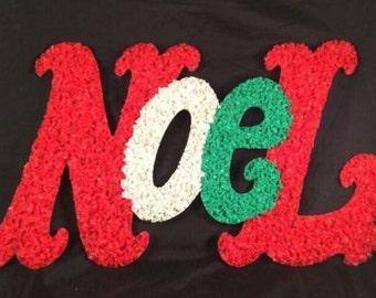 "Vintage Melted Plastic Popcorn NOEL Christmas decoration Xmas 20"""