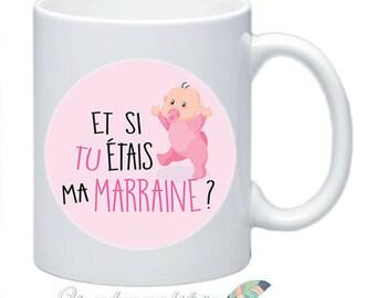 Mug, godmother gift baptism customize names date message #1