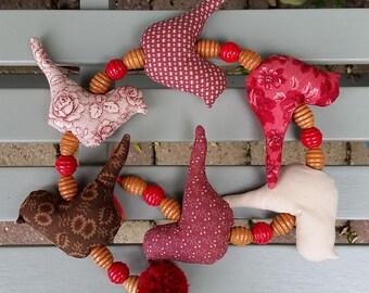 """Birds hanger """"Red"""", wall hanging, window hanging, birdies, fabric birds"""