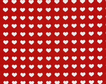 """Heart Polka Dots RED 100% Cotton Broadcloth ~ 42"""" Wide ~ Sold by the Yard"""