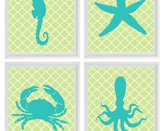 Nautical Nursery Sea Creature Art Print Set - Beach Children Crab Octopus Starfish Seahorse Aqua Green - Wall Art Home Decor Set