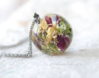 One-of-a-kind gift idea for her | Real Flower Necklace | UralNature handmade necklace | Sphere with dried flowers | Real nature jewelry