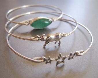 TAURUS set of 3 bangle bracelets - Star sign, Bull, Stars, Emerald