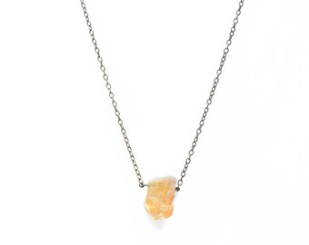 Raw citrine crystal necklace pendant, raw crystal necklace   Minimal brass necklace