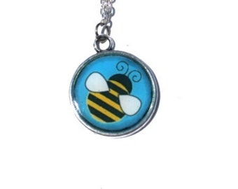 BEE NECKLACE - Insect Pendant - Summer Jewelry - Kids jewelry - Funny Necklace - Girls Necklace - Children Necklace - Gift for Girl