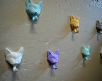 3 cat towel/coat hooks, cats, wall hooks, home decor, gifts