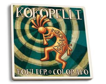 Boulder, Colorado - Kokopelli - LP Artwork (Set of 4 Ceramic Coasters)