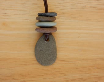 Stacked Rock Cairn Pendant Necklace.  Handmade. Brown Leather Necklace. BOHO Style. Rock Jewelry
