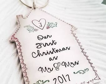 Our first Christmas as mr amd mrs ornament, first Christmas married ornament, personalized newlywed ornament, custom wedding gift