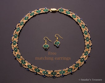 Beaded Necklace Plus Free Earrings ,with Swarovski Crystals in Majestic Colors of Gold, Bronze, Emerald Green and Dark Metallic Blue S-221