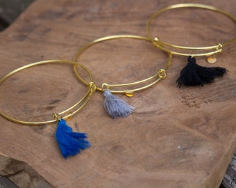 Gold tassel Bangle Bracelet