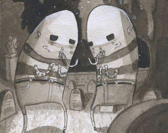 Creepy Twins - Original Watercolor - Mab's Drawlloeen Club Day 19