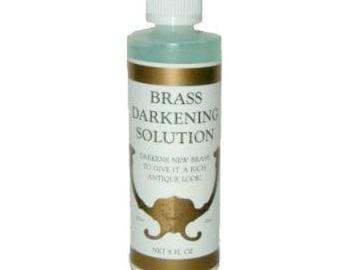 Brass Darkening Solution - Brass Patina - Metal Ager  - 8 Ounce Bottle