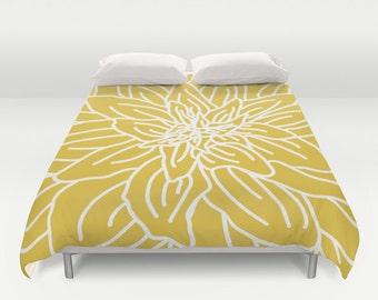 Modern Flower Duvet Cover - Mustard Yellow - Queen Size Duvet Cover - King Size Duvet Cover