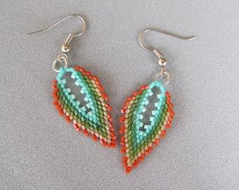 Miyuky Seed Beaded Earrings, Handmade Jewelry, Leaf Shaped Earring, Art Jewelry, Chandelier Earrings