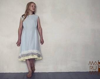 Girls dress Girls Linen dress Sky blue linen dress with ruffles Flower girls dress Linen girls outfit Boho dress Girls Ruffle dress Birthday