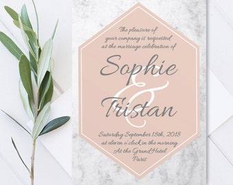 Personalised Wedding invitation, Collection Marble/Wedding Invitation Suite DIY/Blush Marble Frame/Invitation/Printable pdf