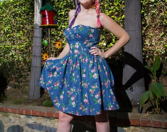 Floral Strapless Sun Dress - Navy – Barbie girl - clothing - cute