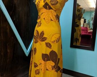 Vintage 60s Dress Hawaiian Tiki full length