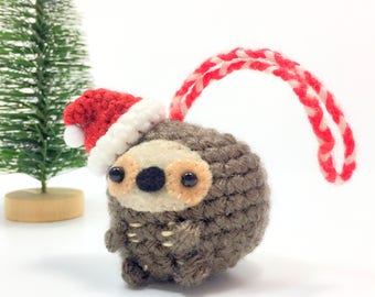 Crochet Amigurumi Cute Kawaii Sloth Small Stuffed Animal Accessory Christmas Tree Ornament with Santa Hat Holiday  Handmade Gift Present