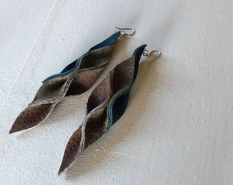 Recycled Leather Earrings - Cascade