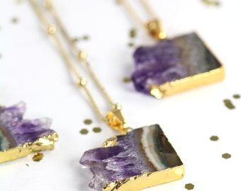 Amethyst Slice Necklace Gold , Boho Jewelry , Raw Crystal Natural Stone , Gift for Her