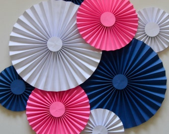 White, Blue and Pink Rosettes, Paper Fans, Pinwheels, Party Decoration, Cake Backdrop, Photo Backdrop