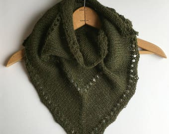 Alpaca Wool Scarf, Hand Knit Hand Dyed Shawlette,  Olive Triangle Scarf for Women