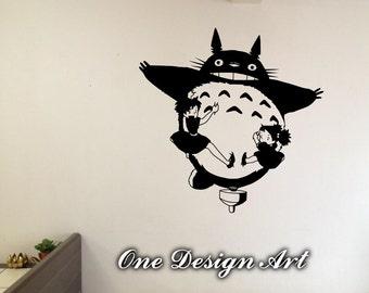 My Neighbor Totoro flying withh Mei and Satsuki decal home decor anime wall mural arts sticker kids children Hayao Miyazaki Y143