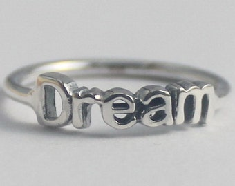 Dream Ring, 925 Sterling silver stacking ring with Inspiring word, Statement ring, Christmas stocking, Novelty ring