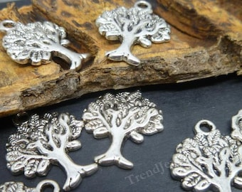BULK - 40 Silver Tree Charms -  Antique Silver Charms Wholesale Lot -MC0020