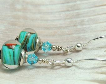 AQUARIUS Handmade Lampwork Bead Dangle Earrings