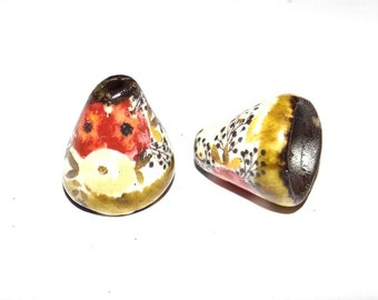 Ceramic Bloom Bell Earring Cone Charms Pair Floral Rustic