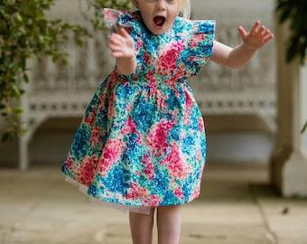 liberty dress, baby liberty print dress, girls dress, liberty print dress, couture dress, floral dress,floral girls dress,  age 5 dress